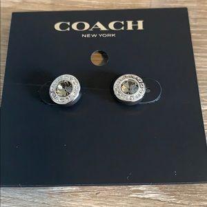 Coach open circle silver tone stud earrings New